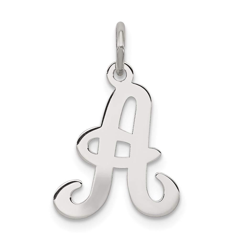 JewelrySuperMart Collection Sterling Silver Cursive Script Initial Pendant