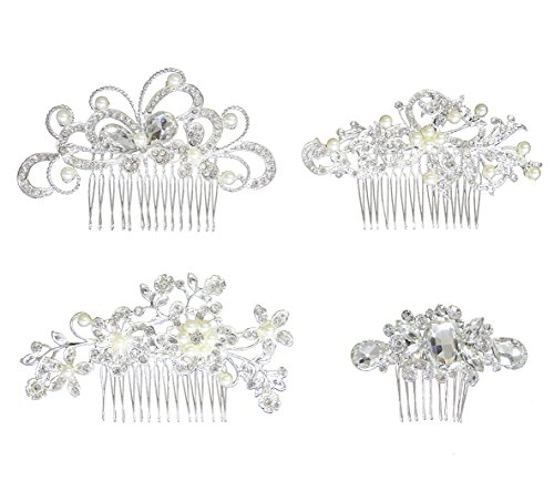 Hair Comb Pack of 4 Bridal Wedding Silver Crystal Rhinestones Pearls Wedding Hair combs Women Side Comb Bridal Head Pin Headpiece by Aoyoho
