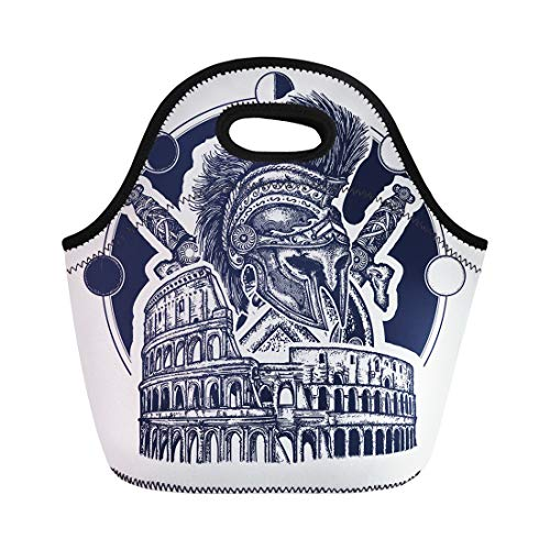 ch Tote Bag Spartan Helmet Crossed Swords Shield and Colosseum Tattoo Symbol Reusable Cooler Bags Insulated Thermal Picnic Handbag for Travel,School,Outdoors, Work ()
