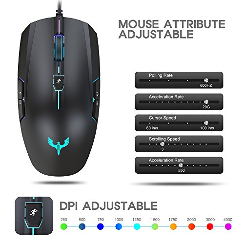 Amazon.com: Blade Hawks GM-X5 Gaming Mouse Up to 4000DPI 8 Buttons ...
