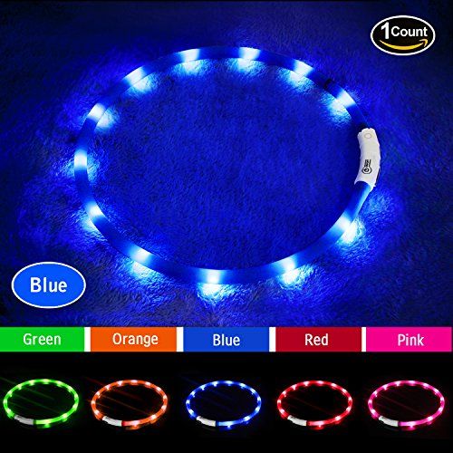 Led Dog Collar Usb Rechargeable Glowing Pet Dog Collar For Night Walking Safety  Waterproof Flashing Light Up Dog Collar For Small Medium Large Dogs