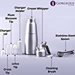 Professional Whipped Cream Dispenser Aluminum Cream Whipper, Durable Stainless Steel Coffee Spoon, 3 Decorating Nozzles, Charger Holder, Cleaning Brush and Instruction Manual Included - 1 Pint 14 USEFUL KITCHEN TOOL THAT MAKES YOUR LIFE EASIER! As someone who likes to indulge her loved ones, now with our chef quality 1-pint cream whipper, making delicious and gorgeous desserts is faster and easier than ever. DISPENSE BEAUTIFUL AND TASTY TOPPINGS FOR ANY DISH! We know that being able to pamper your loved ones is incredibly important to you. At Gorgeous Kitchen, we believe in premium materials, top performance, and perfection in design. We promise to only provide you with the best so next time you wonder what special dish you are going to prepare, the deciding will be that much easier. NIFTY GIFT BOX PACKAGING: This top-notch kitchen gadget comes in a nice gift box, which includes the cream whipper, 3 decorating nozzles, a charger holder, a stainless steel spoon, a cleaning brush, and an instruction bulletin. This makes a fantastic holiday or wedding gift!