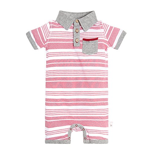 Burt's Bees Baby Baby Infant Organic Cotton Polo Shortall, Red Barn Faux Twill, 3-6 Months (Jumper Shortall)