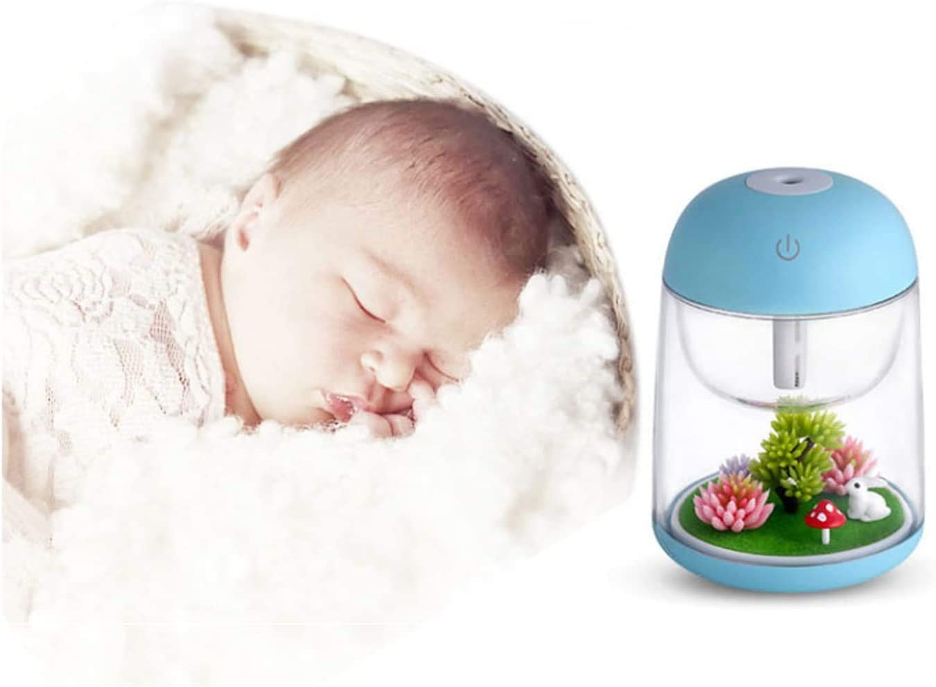 AEKAN Micro Landscape Humidifier with Changing Led Light,Adjustable Mist Mode, Waterless Auto Shut-off,for Bedroom,Office,Car (Pink) Green