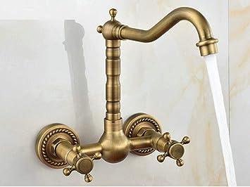 MBYW Grifo de Cocina Diseño Clásico y Profesional Agua Grifo antiguo de cobre europeo para jardín, grifo para lavabo montado en la pared, grifo doble para lavabo de agua fría y caliente: