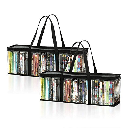 DVD Storage Bags (Set of 2) by Mivi : Transparent DVD & Blu-Ray Storage Cases With Strong Handles Large Capacity Portable DVD Holders Great DVD Storage Solution For Your Movie & Music Collection