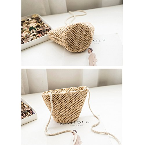 Shoulder Handbags Straw Round Crossbody Bags YJIUJIU Beach Summer Women's 7xaSqZf