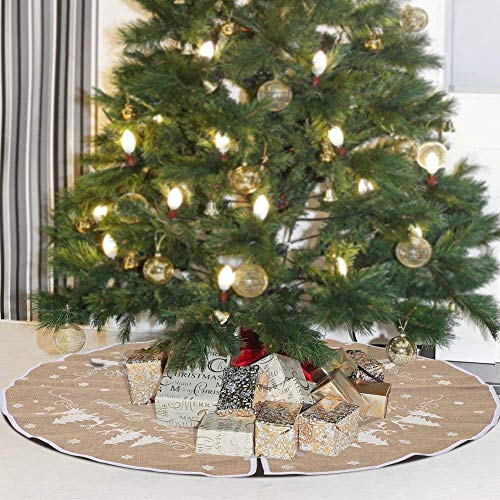 (48 Inch Burlap Christmas Tree Skirt, White Snowflake Printed Xmas,Vintage Christmas Decorations, Holiday Tree Ornament, Tree Skirt for New Year Holiday Decorations Indoor Outdoor)