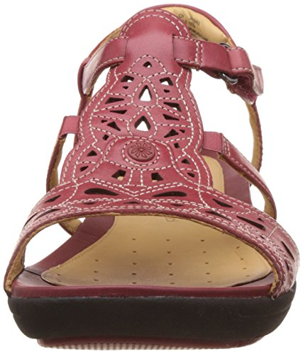Femme Clarks Sandales Bride cherry Leather Un Arrière Valencia Rouge TTq6xXFv1w