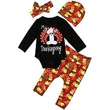 Miward Thanksgiving Outfit Newborn Baby Boy Girl Letter Print Romper Turkey Print Pant Hat Headband 4pcs Clothes Set