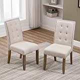 Merax Set of 2 Stylish Tufted Upholstered Fabric Dining Chairs with Nailhead Detail and Solid Wood Legs (Beige) Review