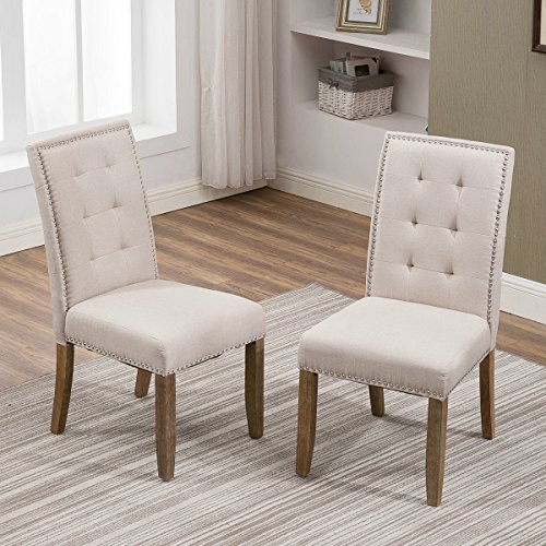 Fabric Dining Room Bench (Merax Set of 2 Stylish Tufted Upholstered Fabric Dining Chairs with Nailhead Detail and Solid Wood Legs (Beige))