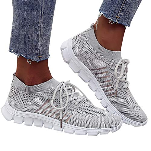 3802f10026351 Londony ✡ Women's Athletic Walking Shoes Casual Mesh-Comfortable Work  Sneakers Slip On Air Cushion Lady Girls Gray