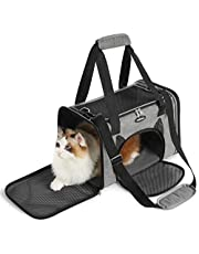 rabbitgoo Cat Carrier, Pet Carriers Airline Approved Soft-Sided, Travel Carrier for Average Adult Cats and Small Dogs, Portable Carrier with 4 Open Doors and Mesh Windows, Collapsible- Grey