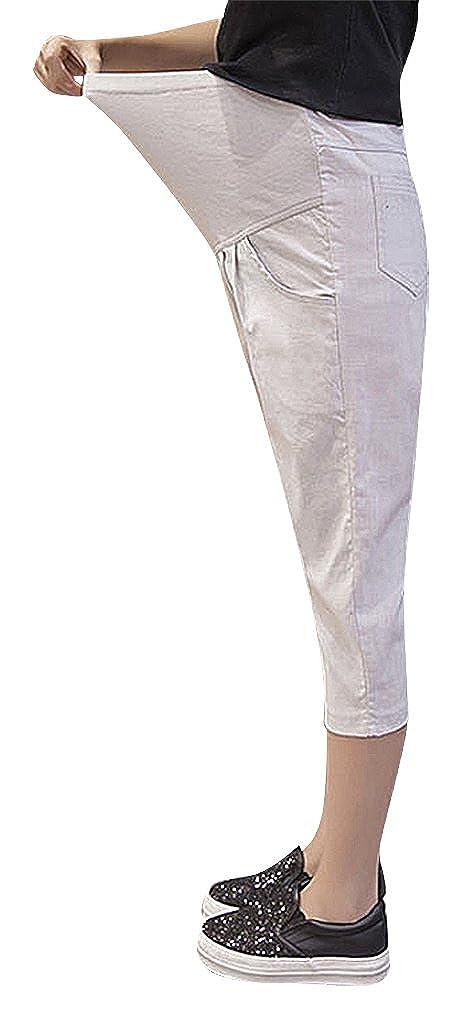 a1b749b5d1b59 Hibukk Cotton Linen Relaxed Pleat Detail Plain Full Panel Maternity Capri  Pants at Amazon Women's Clothing store: