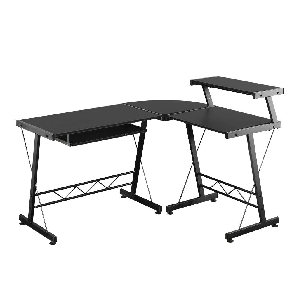 sogesfurniture L Shaped Office Computer Desk with Shelf L-Shaped Desk Laptop Office Desk PC Table Workstation Corner Desk for Home Office,Black BHUS-DX-402C1-BK