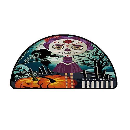 Halloween Comfortable Semicircle Mat,Cartoon Girl with Sugar Skull Makeup Retro Seasonal Artwork Swirled Trees Boo Decorative for Living Room,39.3