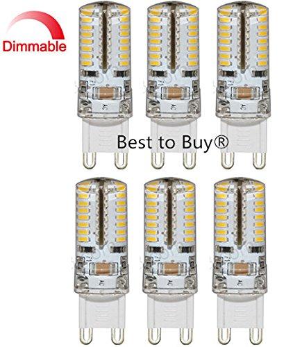 Mejor a comprar® (6-Pack) intensidad regulable G9 Base 64smd3014 lámpara de bombilla LED 3,5 W 120 V blanco para 35 W halógena Bombilla.