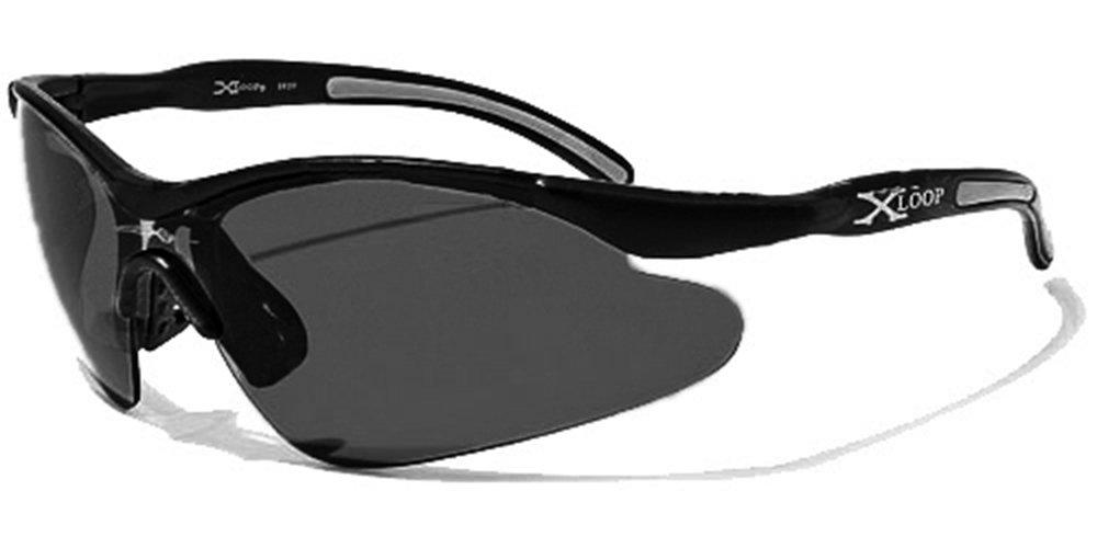 X-Loop Sonnenbrillen - Sport - Radfahren - Skifahren - Laufen - Driving - Motorradfahrer / Mod. 3529 Schwarz / One Size Adult / 100% UV400 Schutz