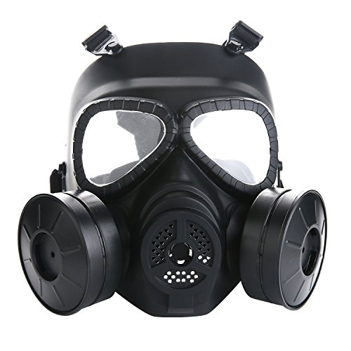 VILONG Airsoft Mask Outdoor Sports Tactical Paintball mask Full Face Skull CS Mask With double filter fan CS edition Perspiration Dust Face Guard (Fan Mask)