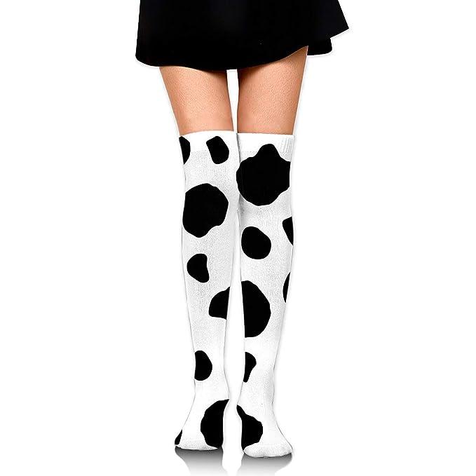 e1996e6e8ca Black And White Cow Pattern Women s Knee High Socks Fancy Design ...