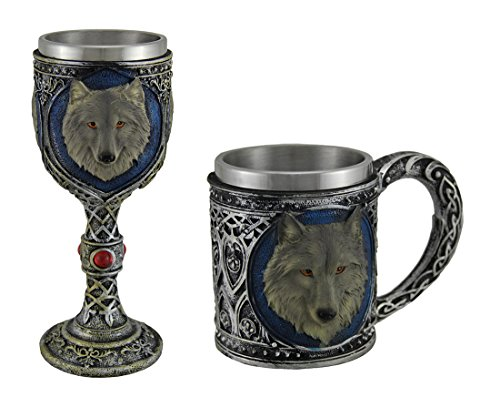 Grey Wolf Stainless Steel Lined Celtic Design Mug and Wine Goblet Set