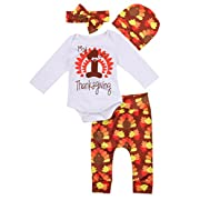Thanksgiving Outfit Newborn Baby Boy Girl Letter Print Romper Turkey Print Pant Hat Headband 4pcs Clothes Set -Miward (3-6 Months, White)