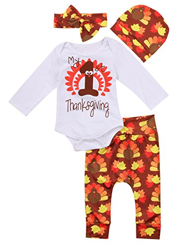Thanksgiving Outfit Newborn Baby Boy Girl Letter Print Romper Turkey Print Pant Hat Headband 4pcs Clothes Set -Miward (0-3 Months, White)