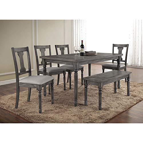 Best Master Furniture Grey Wood and Veneer Distressed Dining Table (Distressed Grey Furniture)