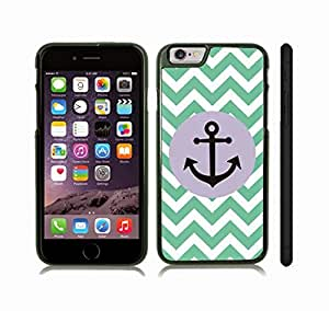 iStar Cases? iPhone 6 Plus Case with Chevron Pattern Mint/ White Stripes Black Anchor , Snap-on Cover, Hard Carrying Case (Black)