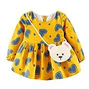 kaifongfu Baby Girl Dress,Cute Toddler Heart Print Long Sleeve Princess Dress+Small Bag (12_24M, Yellow)