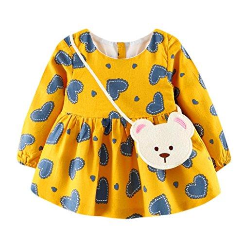 kaifongfu Baby Girl Dress,Cute Toddler Heart Print Long Sleeve Princess Dress+Small Bag (8_12M, Yellow)