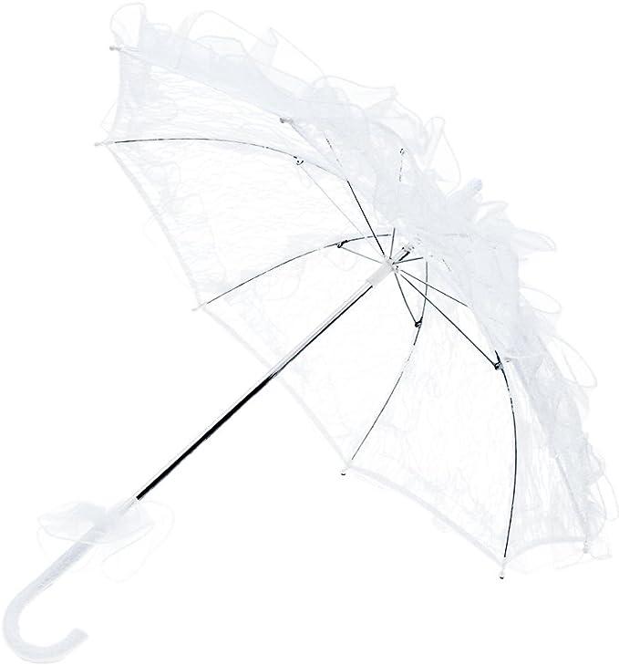 Taglia L BESTOYARD Ombrello da Sposa in Pizzo Lungo Elegante per Matrimonio Decorazione Festa Nuziale Bianco