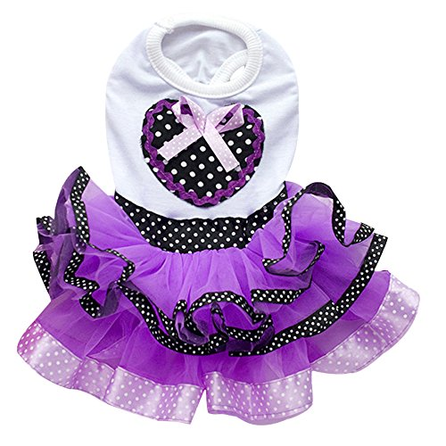 - Gilroy Sweetheart Dots Gauze Bow Tutu Dress Wedding Skirt Clothes for Pet Dog Puppy Cat (S, Purple)