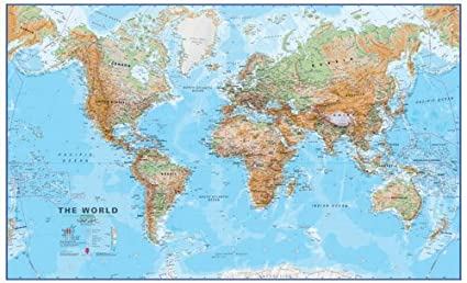 Extra Large World Wall Map (physical) - Canvas