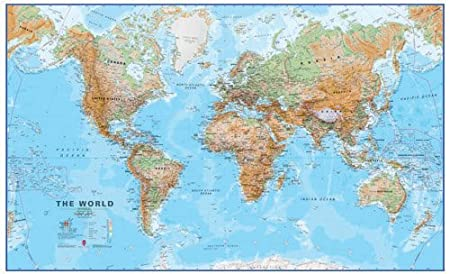 Maps International Huge World Wall Map Physical Without Flags