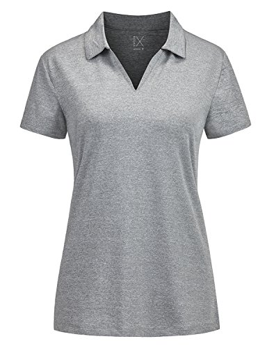 Regna X v Neck Outdoor Performance Yoga Short Sleeve us Polo Shirt Women Grey L