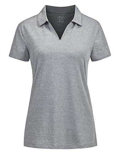 Regna X v Neck Outdoor Performance Yoga Short Sleeve us Polo Shirt Women Grey L