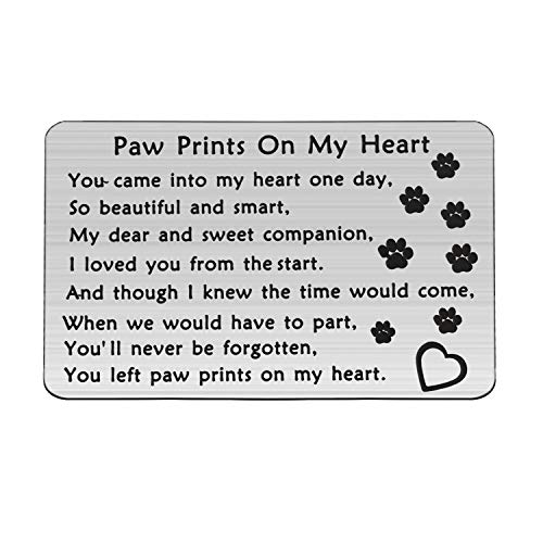 MYOSPARK Pet Sympathy Gift You Left Paw Prints On My Heart Wallet Card Pet Memorial Jewelry Pet Loss Gift for Pet Owner Lover (Paw Print Wallet Card)