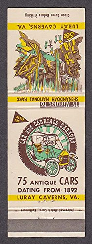 Car & Carriage Caravan Singing Tower Luray Caverns VA matchcover - Carriage Caravan