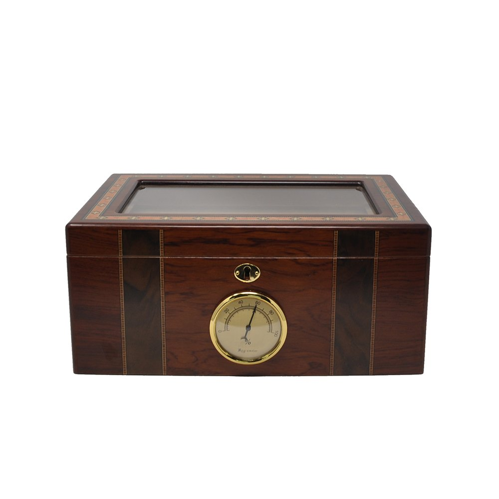 LOLIFUN Wood Cigar Humidor holds up to 100 cigars Size:346X240X159mm(13.58X9.45X6.14inch) with HYGROMETER, HUMIDIFIER AN-0130