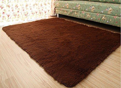 Newrara Super Soft 4.5 Cm Thick Modern Shag Area Rugs Living Room Carpet Bedroom Rug for Children's Play Rug Floor Rug Nursery Rug 4 Feet By 5 Feet (Coffee)