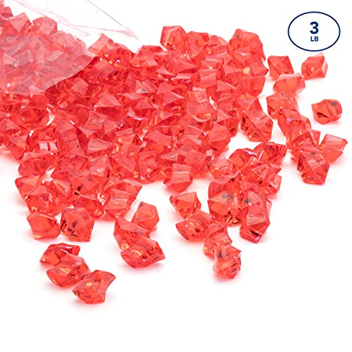 Acrylic Gems Ice Crystal Rocks for Vase Fillers, Party Table Scatter, Wedding, Photography, Party Decoration, Crafts by Royal Imports, 3 lbs (Approx 580-600 gems) - Red