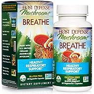 Host Defense, Breathe, 60 Capsules, Respiratory Support, Mushroom Supplement with Cordyceps, Reishi and Chaga, Vegan, Organic, Gluten Free, 30 Servings