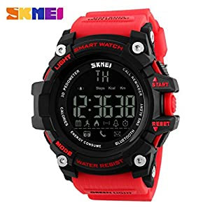 Aobiny Sport Bluetooth Smart Watch Phone Mate for Smartphone (Red)