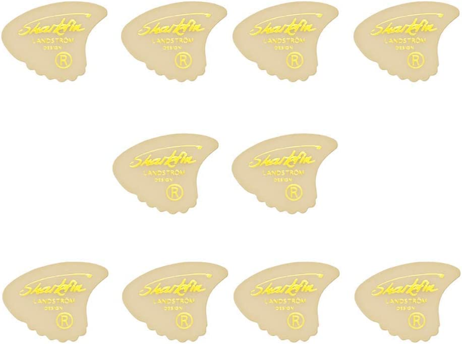 The original legendary Landstrom design from Sweden Sharkfin guitar picks 10 or 20 pack various thickness gold print or relief (10 Pack White Goldprint Medium)