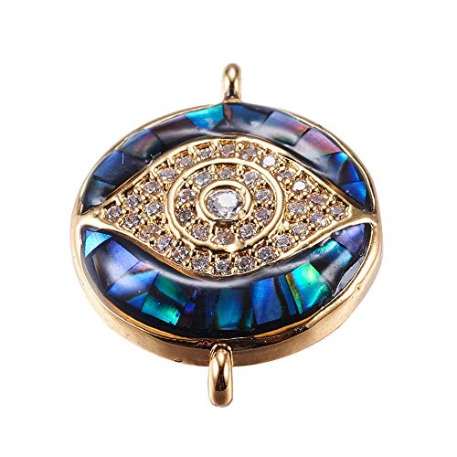 B.D craft 5 Pcs Eye Golden Brass Micro Pave Cubic Zirconia Links, with Abalone/Paua Shell