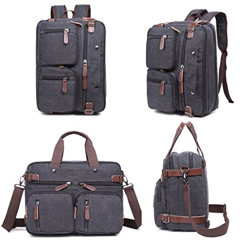 Laptop Bag, Clean Vintage Hybrid Backpack Messenger Bag/Convertible Briefcase Backpack Satchel Men Women/BookBag Rucksack Daypack-Waxed Canvas Leather, (Expandable Organizer Brief Bag)