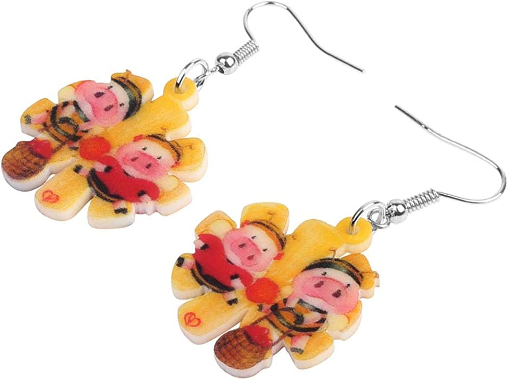 ESIVEL Acrílico Día de San Valentín Honey Pig Piggy Pendientes Drop Dangle Jewelry Para Mujeres Chica Teen Kids Charm Party Decoration Gift