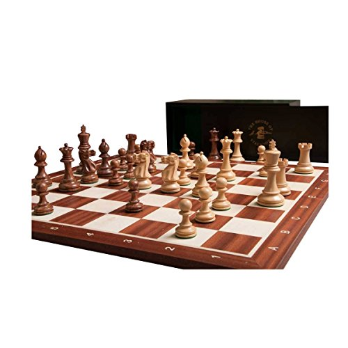 The House of Staunton The Grandmaster Chess set, Box, Board Combination - Golden Rosewood and Natural (Rosewood Staunton Chess Pieces)